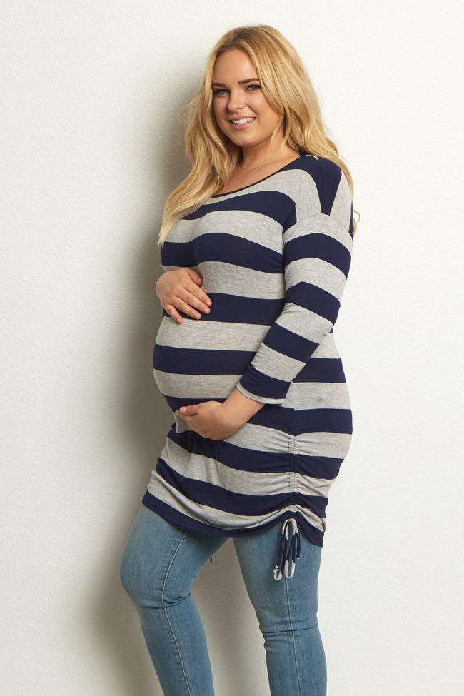 Navy Blue Grey Striped Tie Side Plus Size Maternity Tunic