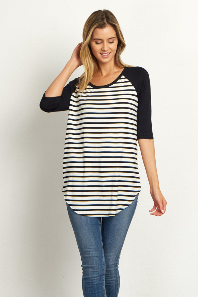 Black Striped Colorblock Sleeve Top
