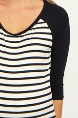 Black Striped Colorblock Sleeve Maternity Top