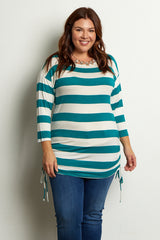 Teal White Striped Tie Side Plus Size Tunic