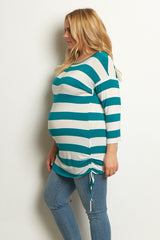 Teal White Striped Tie Side Plus Size Maternity Tunic
