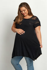 Black Ruffled Lace Neckline Plus Size Maternity Top