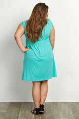 Mint Short Sleeve Plus Maternity/Nursing Dress
