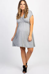 Grey Solid Plus Maternity/Nursing Wrap Dress