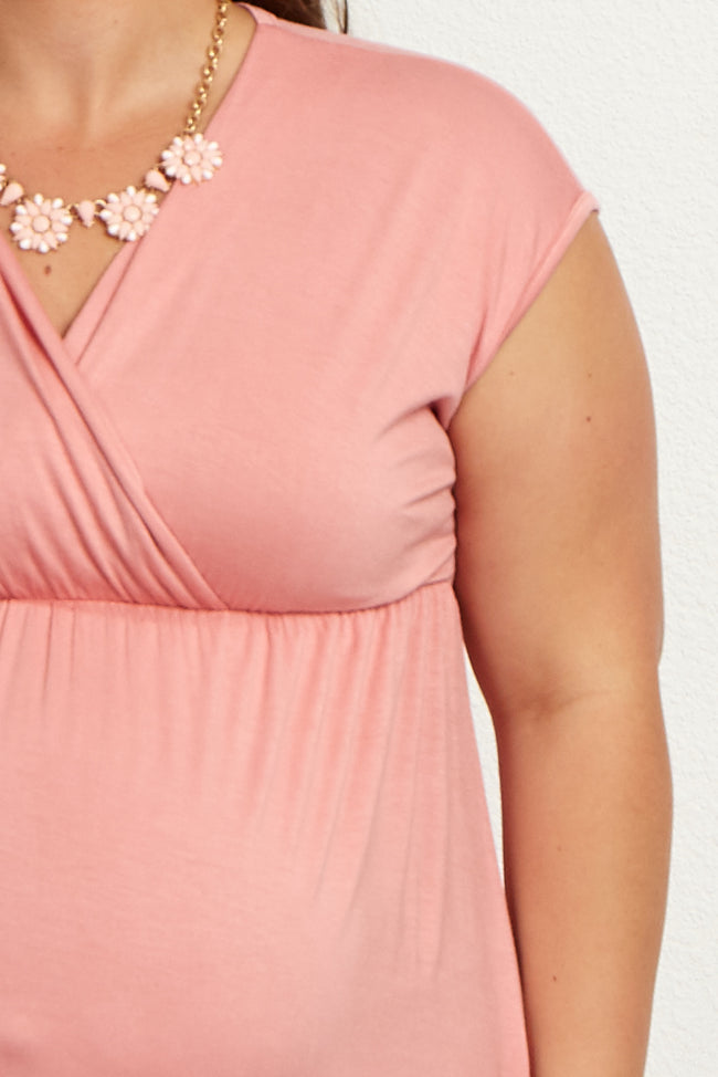 Pink Short Sleeve Plus Maternity/Nursing Dress