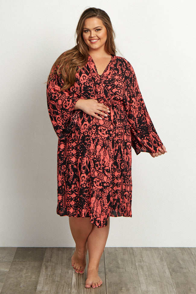 Coral Tribal Abstract Plus Size Delivery/Nursing Maternity Robe