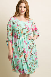 PinkBlush Mint Floral Chiffon Plus Dress