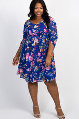 Royal Blue Floral 3/4 Sleeve Chiffon Maternity Plus Dress