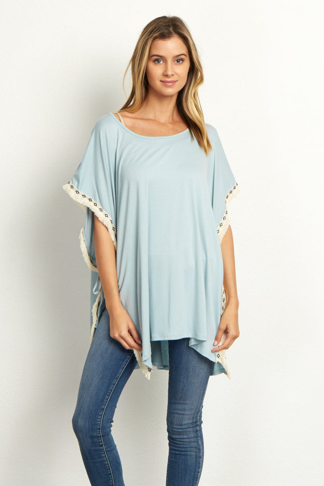 Light Blue Tribal Fringed Trim Poncho Maternity Top