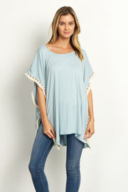 Light Blue Tribal Fringed Trim Poncho Top