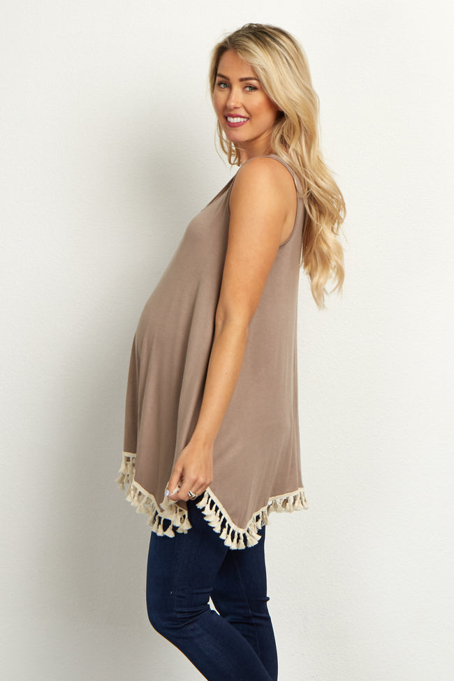 Taupe Fringe Trim Maternity Tank Top