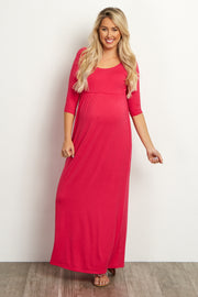 Fuchsia 3/4 Sleeve Maternity Maxi Dress