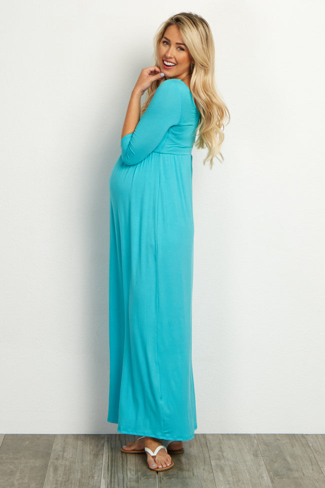 Aqua 3/4 Sleeve Maternity Maxi Dress