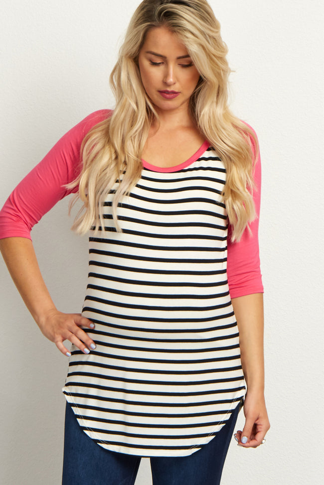 Fuchsia Striped Colorblock Sleeve Maternity Top