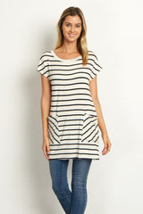Ivory Striped Pocket Front Button Back Top