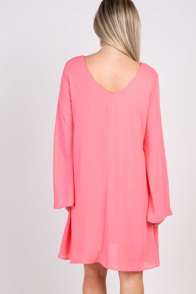 Coral Solid Chiffon Bell Sleeve Maternity Shift Dress