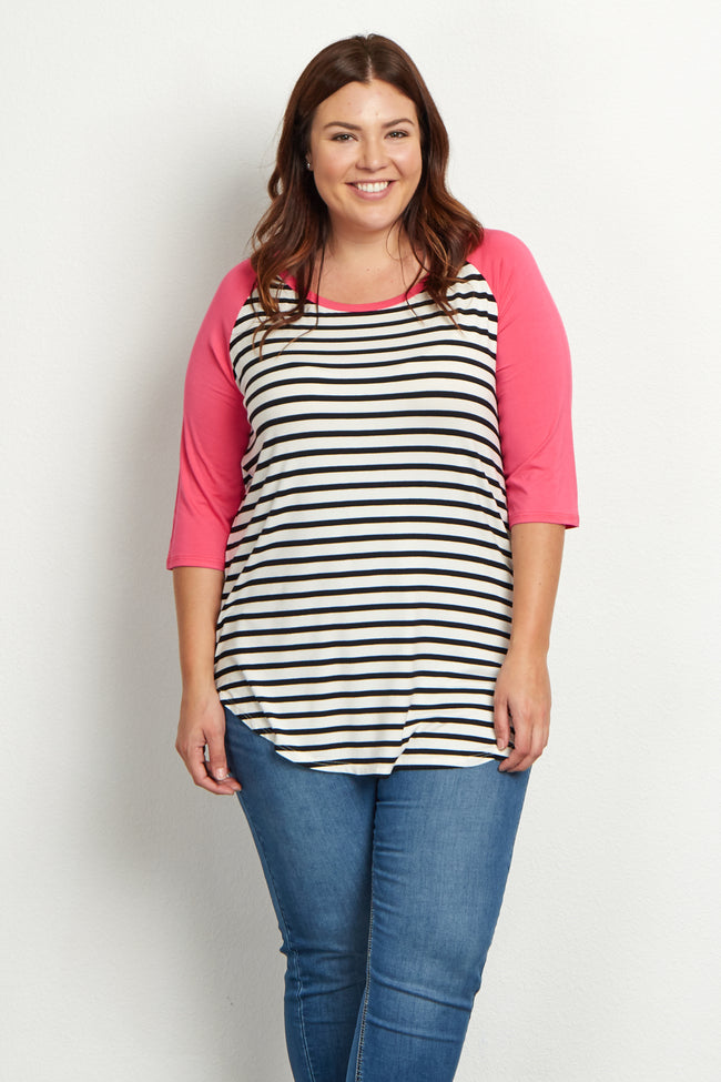Fuchsia Striped Colorblock Sleeve Plus Size Top