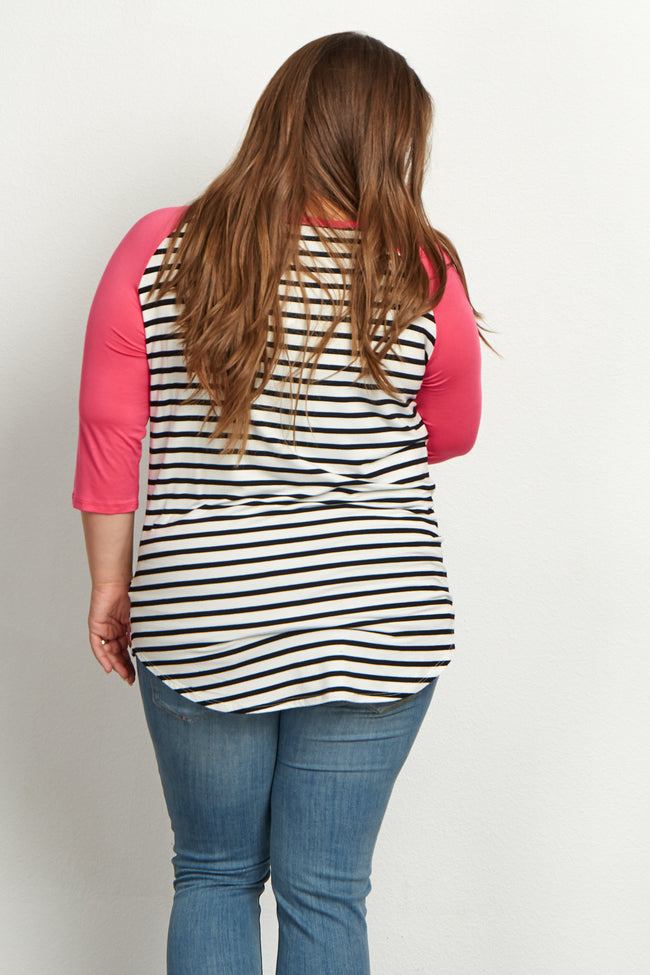 Fuchsia Striped Colorblock Sleeve Plus Size Maternity Top