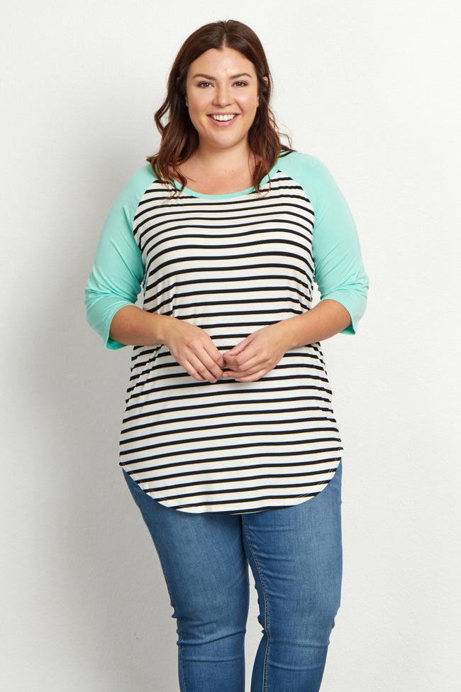Mint Green Striped Colorblock Sleeve Plus Size Top