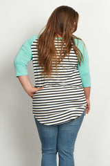 Mint Green Striped Colorblock Sleeve Plus Size Maternity Top