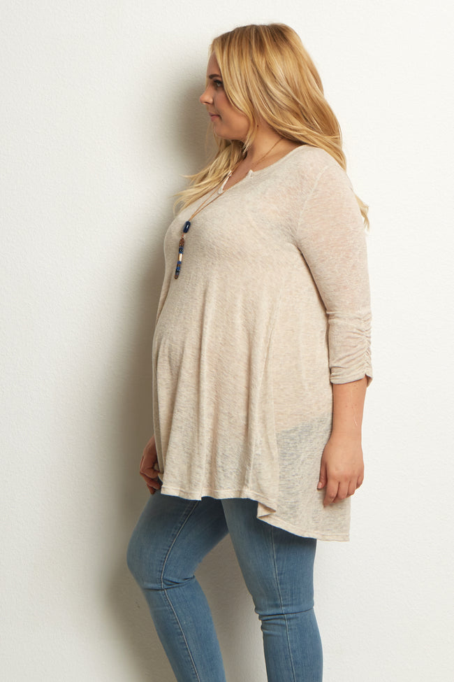 Beige 3/4 Sleeve Solid Knit Plus Maternity Top