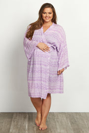 Lavender Tribal Plus Size Delivery/Nursing Maternity Robe