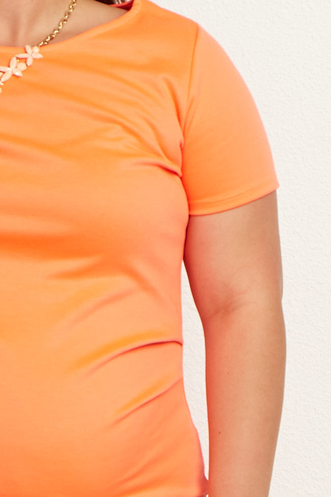 Neon Orange Short Sleeve Fitted Plus Size Maternity Dress