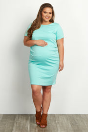 Mint Green Short Sleeve Fitted Plus Size Maternity Dress