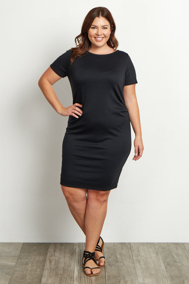 Black Short Sleeve Fitted Plus Size Dress