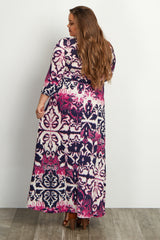 Purple Navy Abstract Damask Draped Plus Maternity/Nursing Maxi Dress