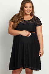 Black Lace Belted Plus Maternity Dress