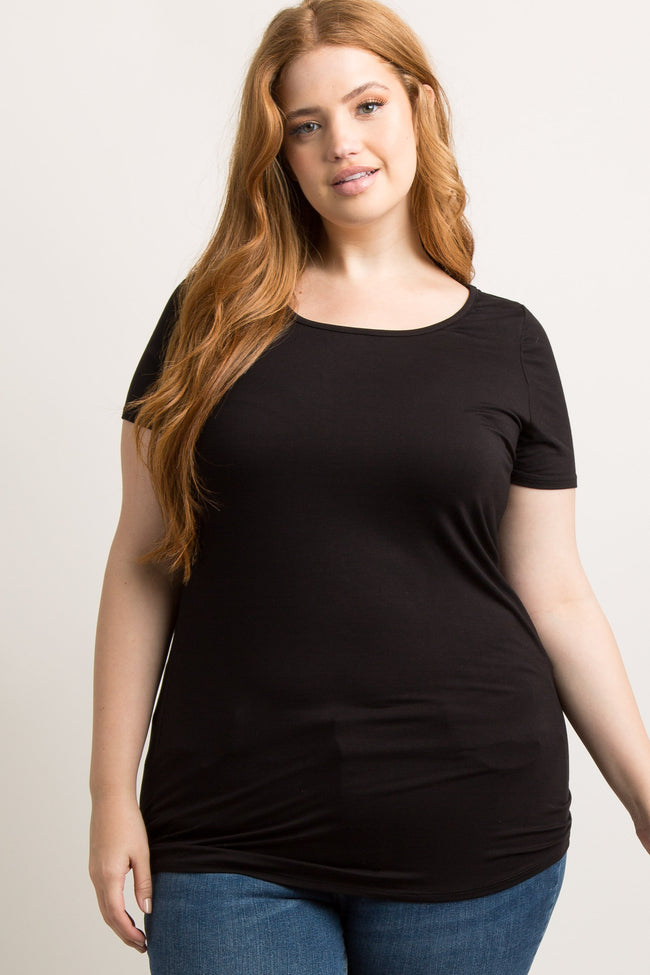 Black Basic Short Sleeve Plus Maternity Tee