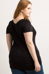 Black Basic Short Sleeve Plus Tee