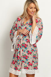 Mocha Floral Lace Trim Delivery/Nursing Maternity Robe