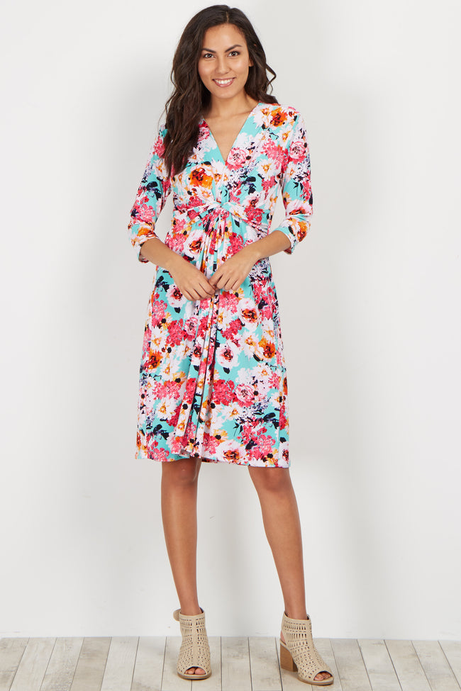 Aqua Floral Wrap 3/4 Sleeve Maternity Dress