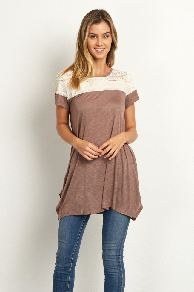 Mocha Ruffled Lace Neckline Short Sleeve Top