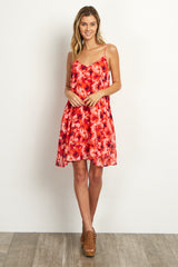 Red Floral Chiffon Tunic/Dress