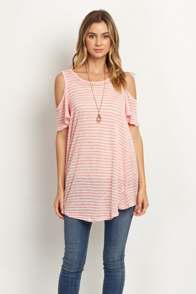 Pink Striped Cold Shoulder Maternity Top