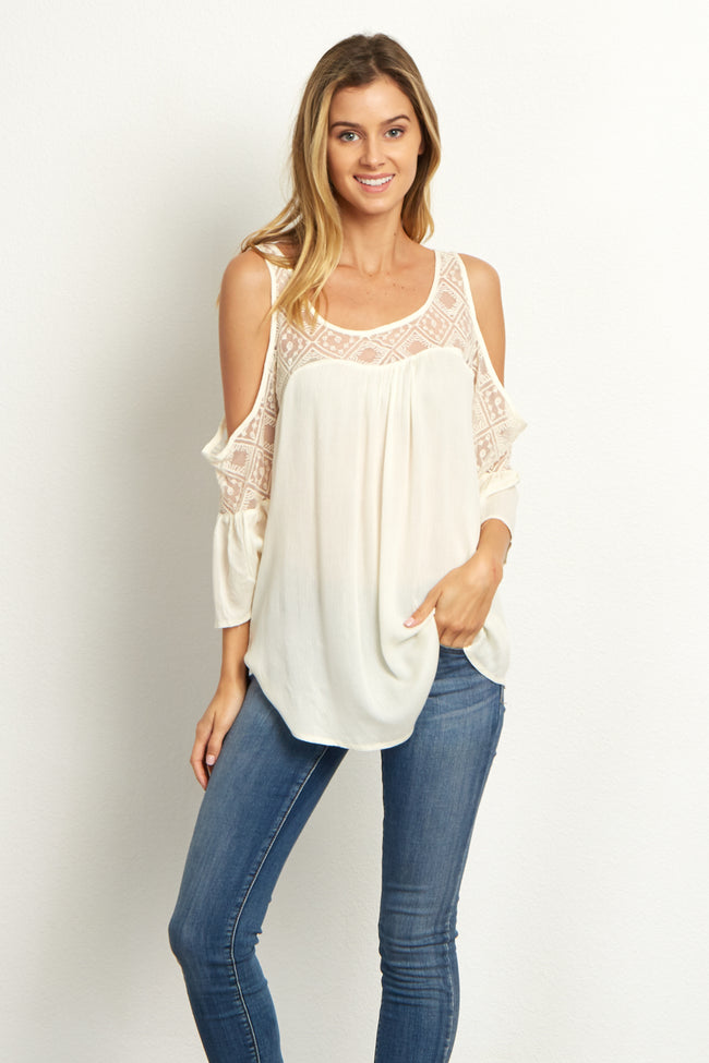Cream Mesh Neckline Top