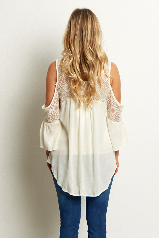Cream Mesh Neckline Maternity Top