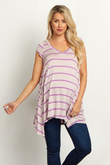 Lavender Striped V Neck Maternity Top