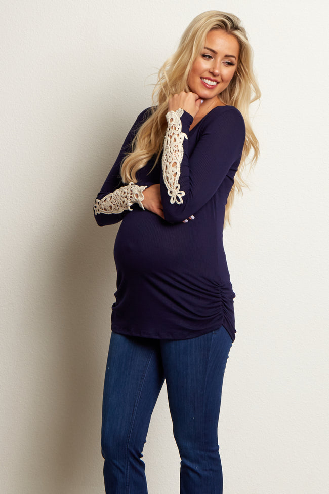 Navy Blue Fitted Crochet Sleeve Maternity Top