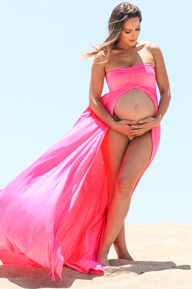 Fuchsia Strapless Open Maternity Photoshoot Gown/Dress
