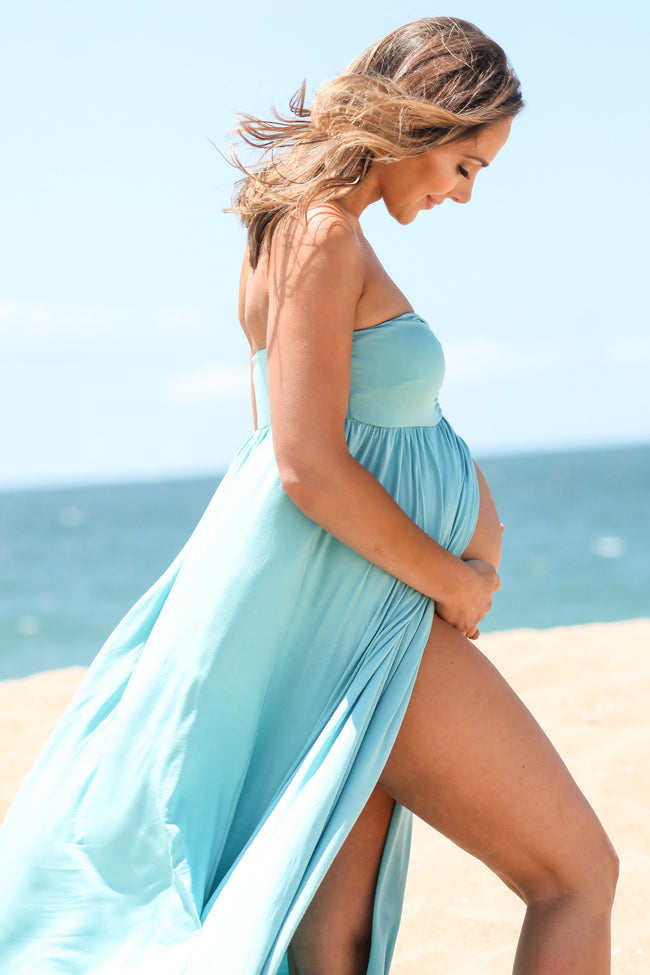 Aqua Strapless Open Maternity Photoshoot Gown/Dress