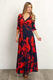 Navy Scarlet Rose Maternity Maxi Dress