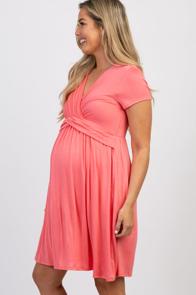 Pink Draped Front Maternity/ Nursing Dress