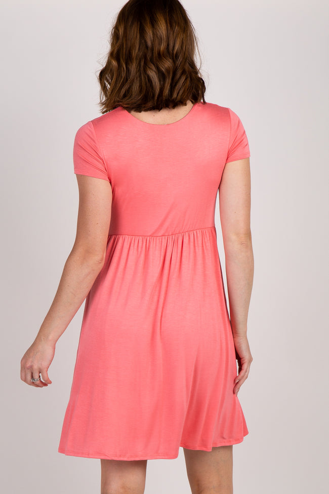 Pink Draped Front Nursing Dress