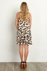 Ivory Leopard Printed Maternity Swing Dress