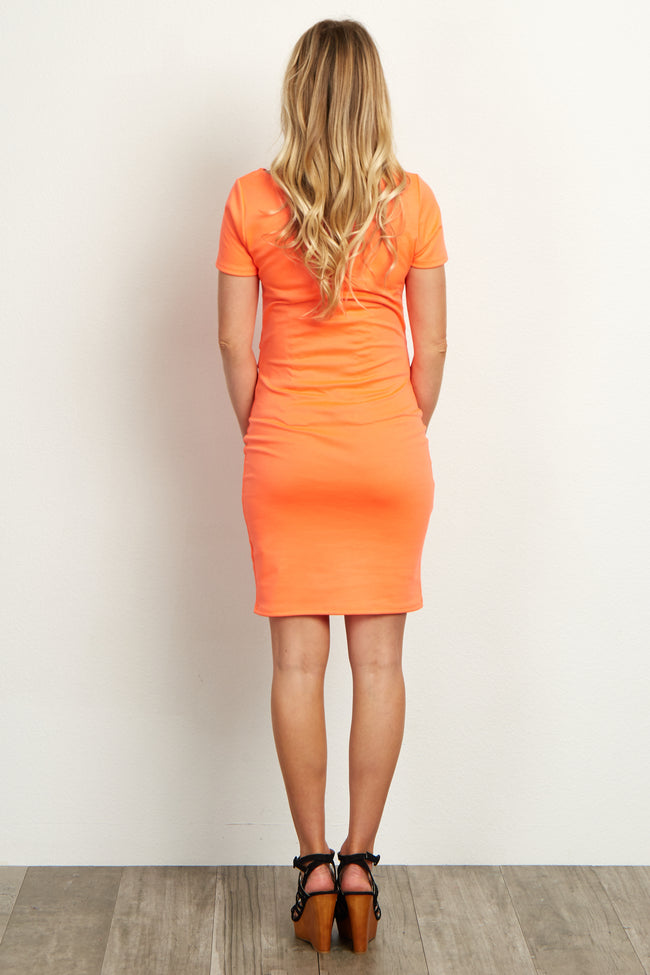 Neon Orange Short Sleeve Fitted Maternity Dress