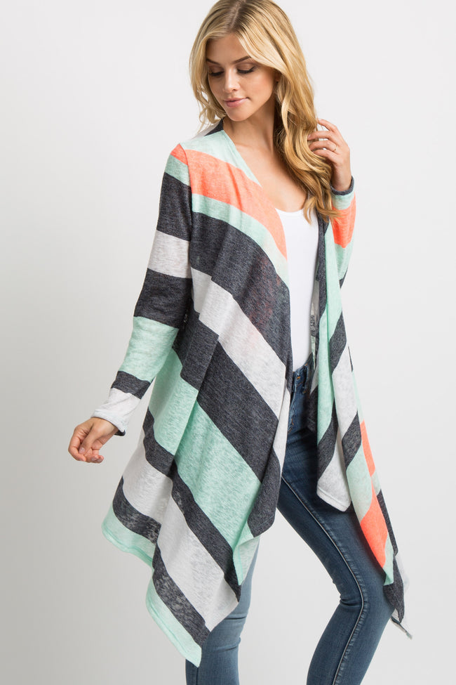 Neon Coral Colorblock Knit Cardigan